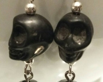 Evil disco skull glass bead earrings glitzy black silver plated