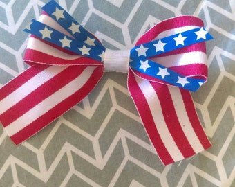 Fourth of July Bow, red, white, and blue