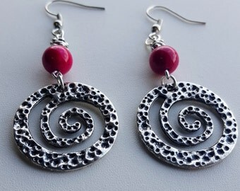 Magenta Stone and Silver Spiral Pendant Earrings