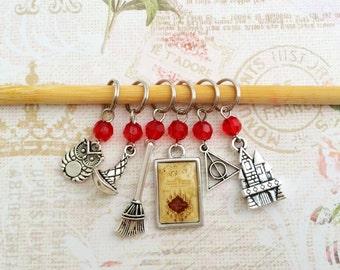 Harry Potter Stitch Markers Set, Hogwarts Stitch Markers Set of 6