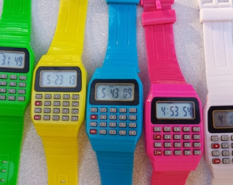 Old School style calculator Watch/Green,Blue,Pink,Yellow, and White/80's/Gifts for him/her/Trendy 2017 Jewelry/Birthday/Gift