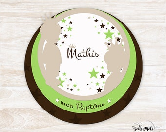 To share birth/baptism round cut mini prince - customize