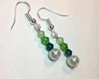 "Handmade ""Forest"" Crystal and Pearl Earrings"