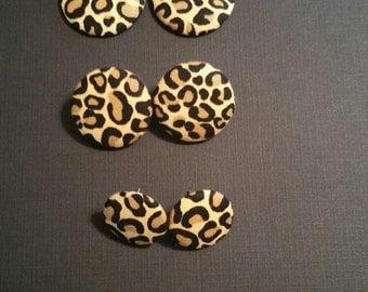 Animal Print Pierced Button Earrings