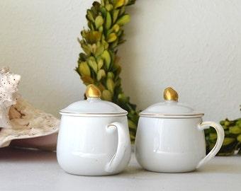 vintage set of two lidded white with gold gilt jars jelly pot sugar pot