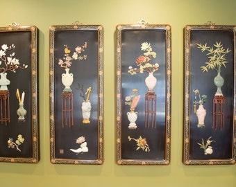 Traditional Chinese-styled 3D lacquer panels  (set of 4)