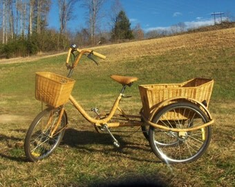 Beautiful 1950's  Vintage Rattan Coastal Cruiser Three Wheel Bamboo Bike