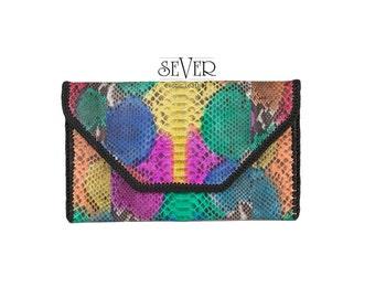 Envelope Clutch, Multi Color Clutch, Python Clutch, Leather Clutch, Evening Clutch, Snakeskin Clutch, Envelope Bag, Python Bag, SV-0035