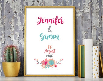 DIN A4 wedding day/anniversary art print, mural ' Mr & Mrs' print, gift wedding