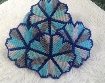 Blue Variegated Flower Coaster with Holder