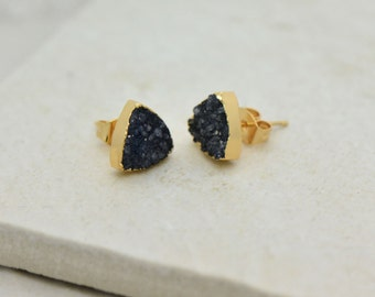 Black Triangle Druzy Crystal Earrings - 24K Gold Dipped - 10mm Triangle - Earring Studs & Posts