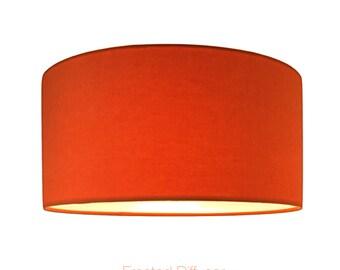 Orange Drum Lightshade With Diffuser  / Various Sizes / 40cm / 45cm / 50cm