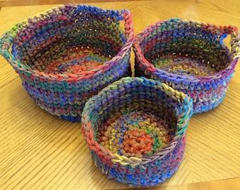 Nesting baskets crocheted set of 3