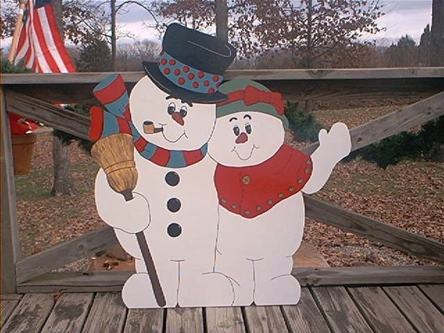 Snowman Couple Mr And Mrs Frosty Hugging Winter Christmas 1
