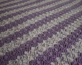 Handmade Crochet Baby Blanket with Diagonal Stripe Stitch in Purple and White