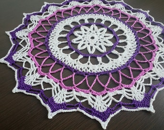 Handmade Purple-White Crochet Lace Doily/Wall Decoration