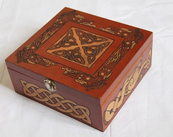 Wooden box, carved casket, celtic pattern: birds and interlacings, viking, fantasy, medieval, storage box, jewelry box