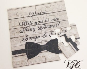 Personalized Ring Bearer proposal, Will You Be Our Ring Bearer puzzle, Ring Bearer Invitation puzzle, Ask Ring Bearer, Rustic wedding