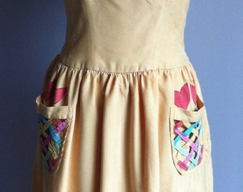 50's Vintage Yellow Silk Sundress with Tulip Basket Pockets and Lace-up Back.  Size 10-12