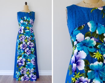 Vintage 1960s Penneys Hawaii Maxi Dress // Made in USA - Size S