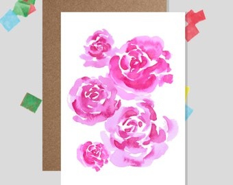 Pink Peony Flowers Botanical Greeting Card (Birthday, Thank you, Get Well Soon)