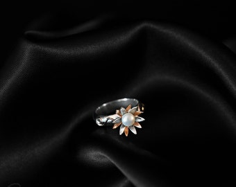 Sterling silver flower ring, copper, fine detail and fresh water pearl. Handmade for your size