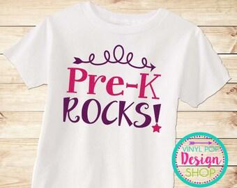 Preschool, Pre K Back to school shirt, pre-k rocks, 1st day of preschool, 1st day of school, girls tee, little girl, 1st day of preschool
