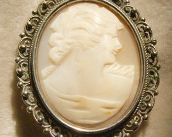 Genuine Cameo brooch In Filigree Silver