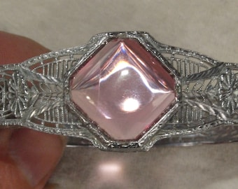 Edwardian Filigree Bangle Bracelet With Pink Stone