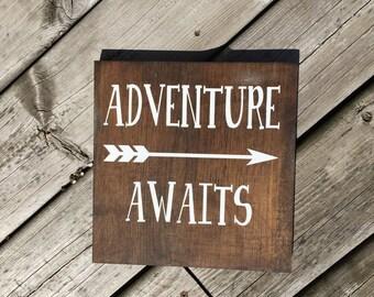 ADVENTURE AWAITS SIGN Adventure Sign Arrow Sign Adventure Arrow Dark Stained Adventure Plaque Nursery Decor Arrows Decor Baby Shower Gift