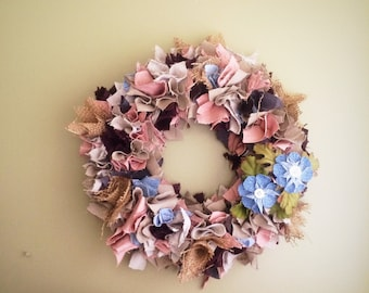 Shabby Rag Wreath, Upcycled Wall Decor, Rustic Farmhouse Decor, Neutral Pink Wreath, Repurposed Scrap Wreath, Recycled 12 inch Wreath