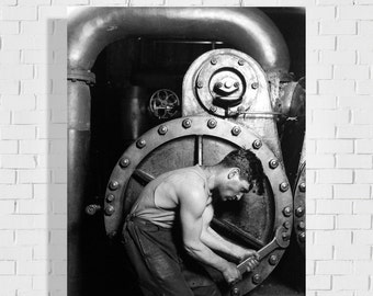 """26.1"""" x 36"""" - Steamfitter 1921 - view of a mechanic - vintage factory photo print Ford Photography"""