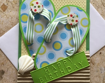 Handmade Flip flop Birthday card
