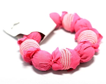 Pink Fabric & Coil Bracelet