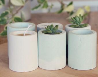 Mini Concrete Cement Pot - Two Tone Baby Blue & White