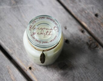 Small Bergamot & Earth Candle - Soy Candles - Essential Oil Candle - Jar Candles - Hand Poured Soy  Candles - Aromatherapy Candle