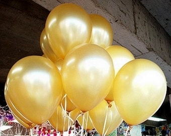 Lot of 6 Gold golden color latex balloons