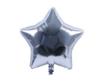 Star Silver metallic shaped balloon 45 cm
