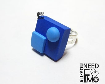 Geometric ring| Fimo ring | blue ring | square ring | pearl ring | 60s | 70s | light blue | adjustable ring | geometric jewelry | 60s ring