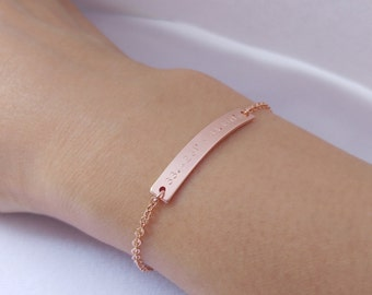 Custom Hand Stamped Rose Gold Coordinates Bracelet, Location GPS Coordinates, Latitude Longitude, Wedding Gift, Anniversary Gift