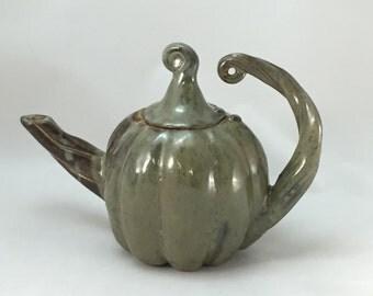 Handmade  Acorn Squash Teapot,  Stoneware Teapot, Ceramic Teapot