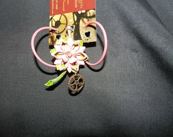 Steampunk Flower Power pin or necklace with earrings