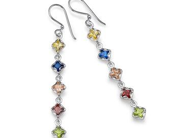 Sterling Silver With Zircon Stones Earrings Star Light