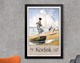 Take A Kodak With You Vintage Photography Advertising Poster Art Print