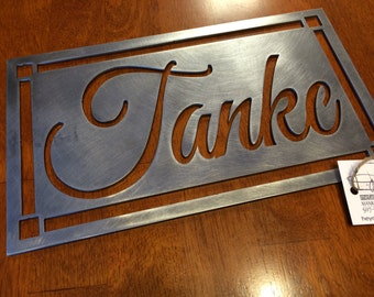 Personalized Family Name - First and Last Names- Wedding Gift - Housewarming Gift - Custom Metal Personalized Sign