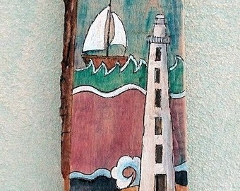 Picture painting on recycled wood