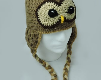 Barred Owl Crochet Hat