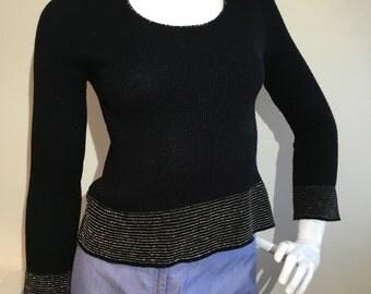 1970s Vintage Black Silver Metallic Long Sleeve Top Jumper Sweater 8