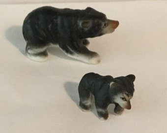 Vintage Porcleain Black Bear and Cub Figurines