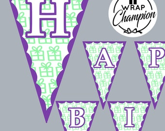 Happy Birthday Garland Printable Banner Party Decoration DIY Bunting